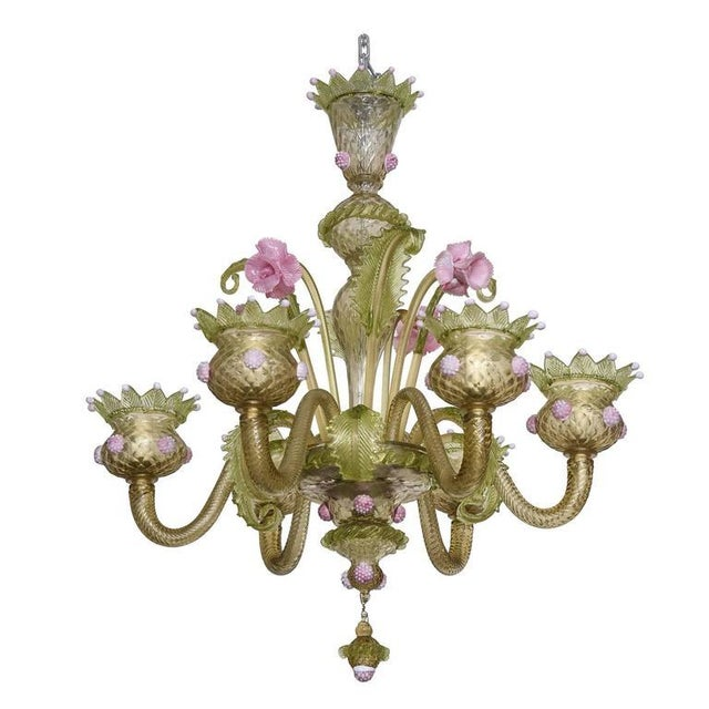 1930s, Louis XV Style, Green and Pink Murano Glass Chandelier and Two Sconces - Image 1 of 9