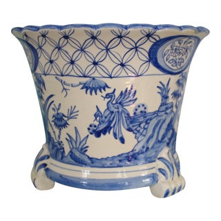 Vintage Spanish Blue & White Faience Jardiniere