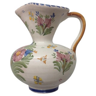 Antique Spanish Talavera Hand Painted Pitcher
