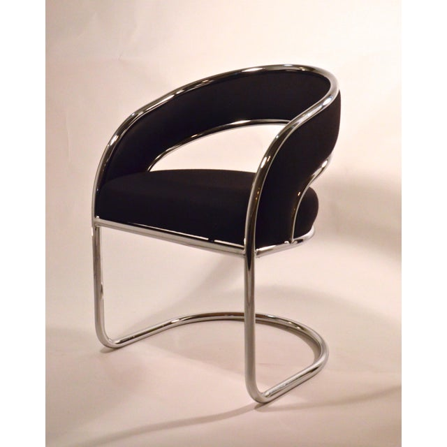 Set of Four Contemporary Shells Inc. Upholstered Chrome Sling Back Dining Chairs - Image 4 of 5