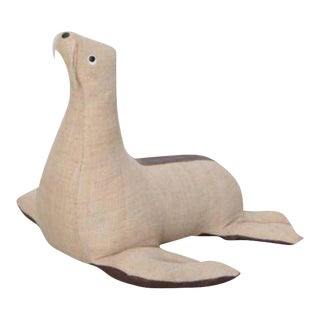 Rare Leather and Jute Therapeutic Toy Seal by Renate Muller