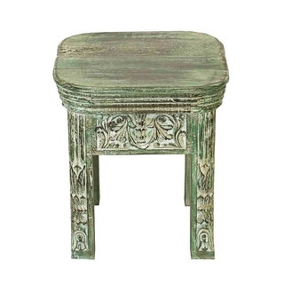 Indian Hand-Carved Side Table