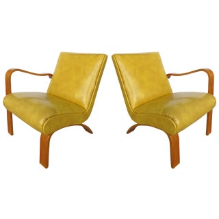 1940s Thonet Opposing Arms Bentwood Chairs - Pair