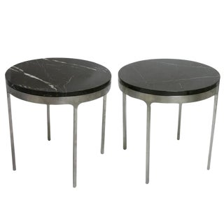 Pair of Nicos Zographos Stainless Steel Tables with Belgian Black Marble Top