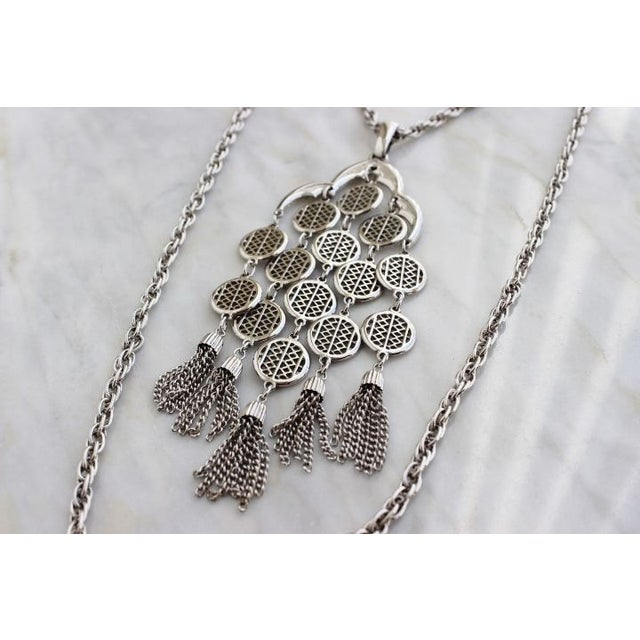 Image of Crown Trifari 70s Silver Tassel Pendant Necklace