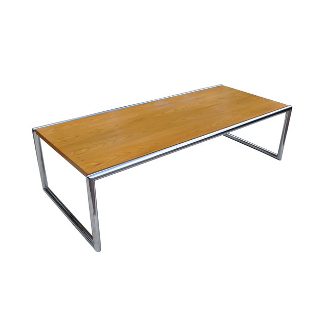 Cb2 Mid Century Coffee Table: Mid-Century Pine And Chrome Coffee Table