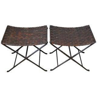 Mid-Century Leather & Steel Folding Stools - A Pair