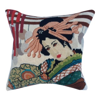 Vintage Geisha Needlepoint Pillow