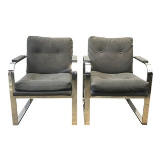 Milo Baughman Flat Bar Lounge Chairs- A Pair