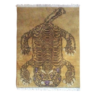 Hand-Knotted Tibetan Whole Pelt Tiger Rug