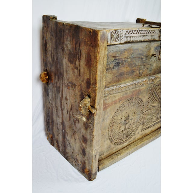 Ancient Kafiristan Wooden Dowry/Treasure Chest - Image 6 of 10