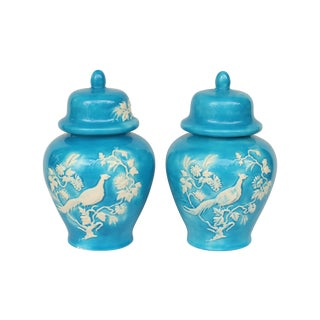 Blue Bird Ginger Jars - Pair