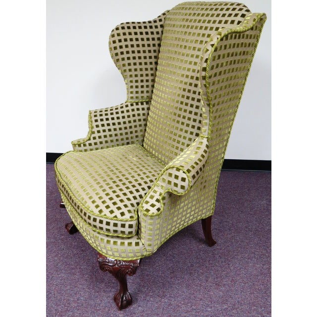 Chippendale Queen Anne Wing Chair with Carved Legs - Image 3 of 7