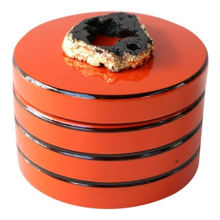 Orange and Black Lacquered Coaster Set - 6