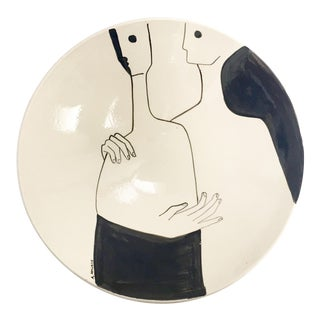 Black and White Decorative Bowl with Abstract Couple