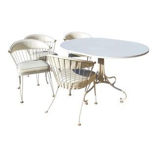 Mid-Century Modern White Painted Metal Dining Set