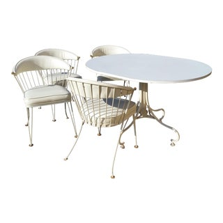 Mid-Century Modern White Painted Metal Dining Set