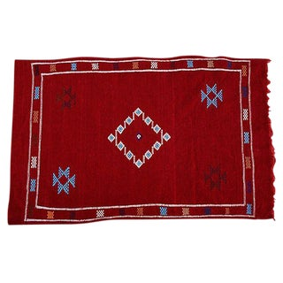 """Red Moroccan Rug - 3' x 4' 7"""""""
