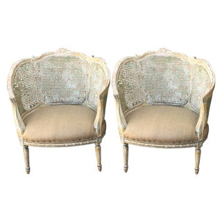 French Caned Louis XVI Style Armchairs - A Pair