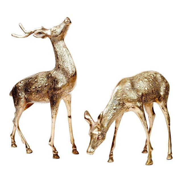 Image of Vintage Brass Deer Figures - A Pair
