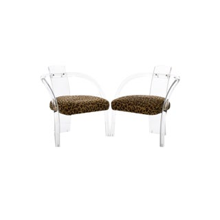 Vintage Lucite and Leopard Chairs - a Pair
