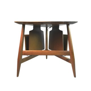 Edward Wormley for Dunbar Wedge Shaped Magazine Table in Sap Walnut & Malabar