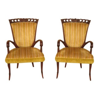 Vintage 1950's Carved Mahogany Fireside Chairs - a Pair