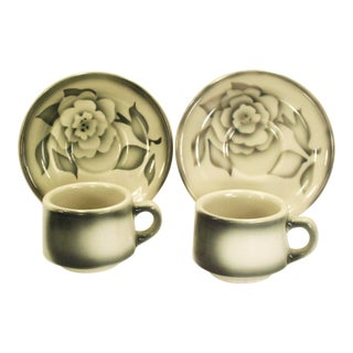 Vintage Sterling USA Grey Airbrushed Restaurant Cups & Saucers- Set of 2