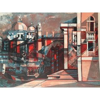 Venice Cubist Lithograph by Hilaire Camille