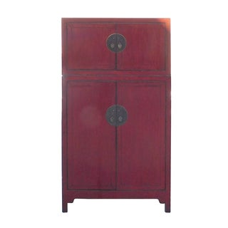 Vintage Distressed Red Lacquer Compound Cabinet