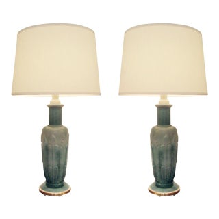 American Jade Glass Table Lamps - A Pair