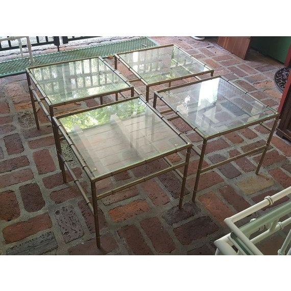 Faux Bamboo Metal Side Tables - Set of 4 - Image 2 of 5