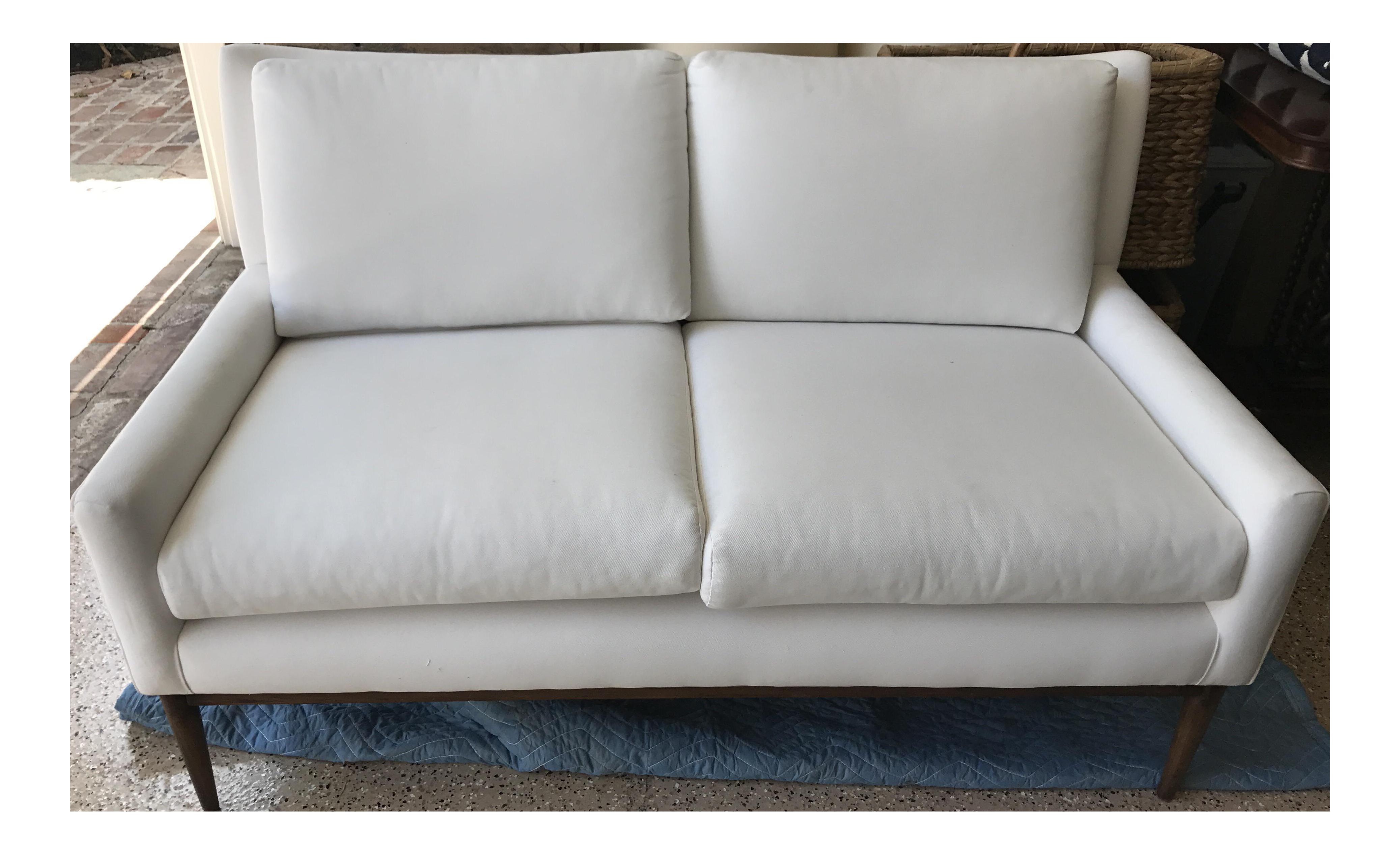 midcentury modern white settee