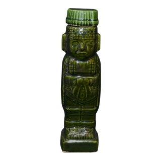 Vintage Aztec/Mayan Motif Green Tiki Decanter