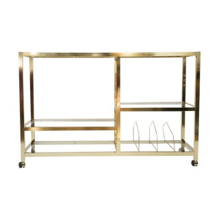 Mid-Century Rolling Brass Bar Cart