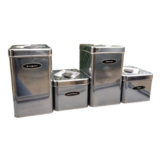 Mid-Century Chrome Kitchen Canisters - Set of 4