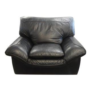 Roche Bobois Black Leather Armchair