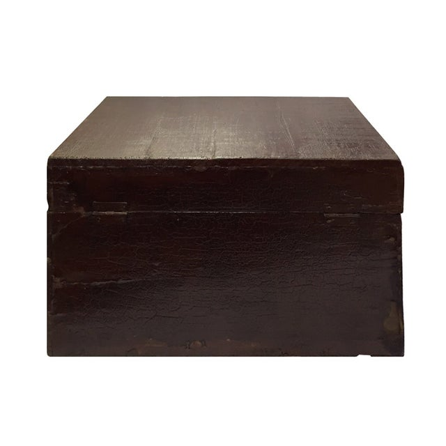 Chinese Brown Red & Gold Graphic Wood Trunk Box - Image 7 of 7