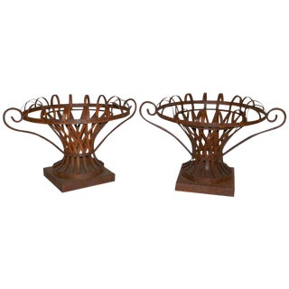 French Metal Garden Compotes- A Pair