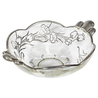 Floral Silver-Overlay Glass Catchall