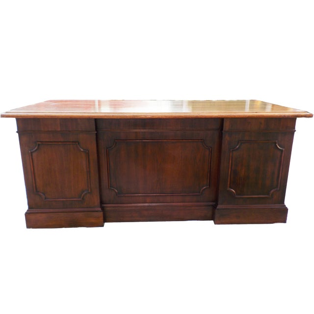 Vintage Wood Executive Traditional Desk by Hiebert - Image 9 of 9
