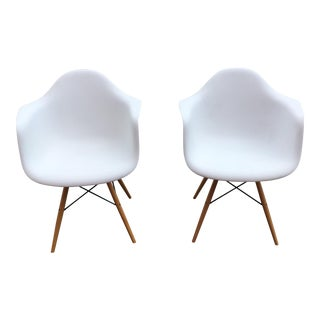 Eames Style Molded Plastic Armchair - A Pair