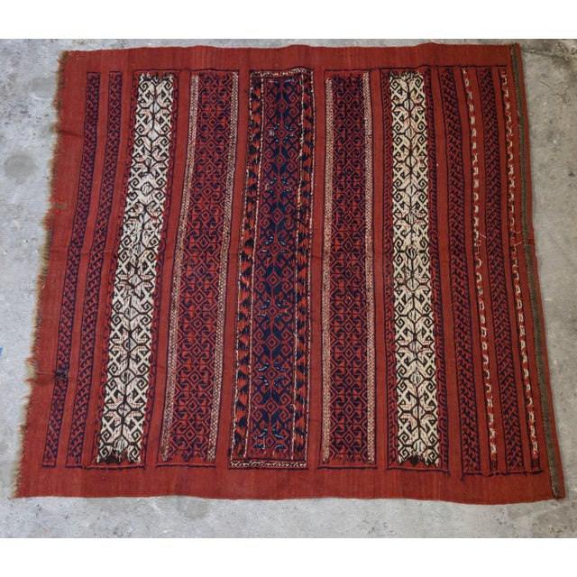 "Vintage Turkish Aztec Print Rug - 5'1"" x 5'3"" - Image 6 of 8"