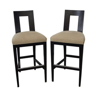 Donghia Margarita Upholstered Bar Stool Chairs- A Pair