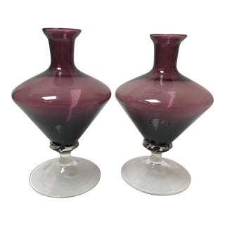 Art Deco Amethyst Glass Vases - a Pair