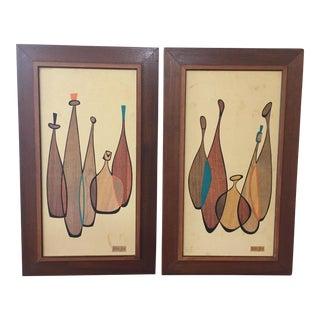 Robert Lyons Mid-Century Modern Wood Cut Prints - a Pair