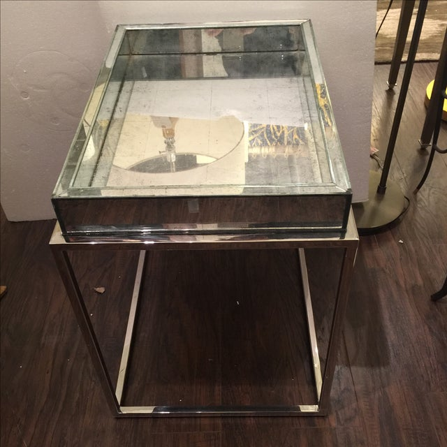 Antique Mirror & Chrome Occasional Table - Image 3 of 6