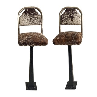 Vintage Stools - Chrome & Hide - a Pair