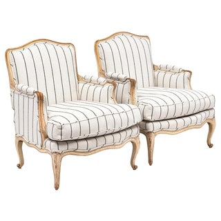 Pair Of French Antique Louis XV Style Bergères