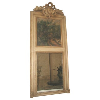 French Trumeau Mirror Canvas Oil Painting, 19th C.